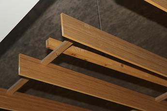 Hanging wooden slats detail